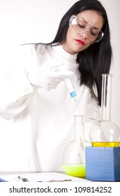 Portrait of a young attractive female laboratory technician working.