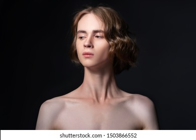 Portrait of a young attractive man. Androgyn model.