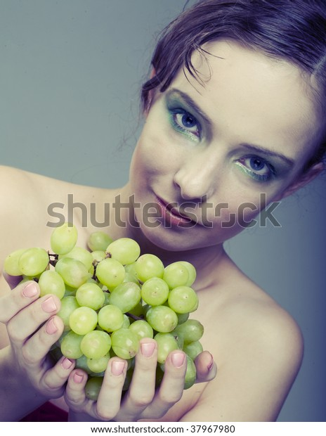 Portrait Young Attractive Woman Green Grapes Stock Photo