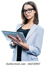 a portrait of a young attractive woman holding a tablet computer