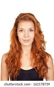 Portrait of a young attractive woman with red hair, isolated on white