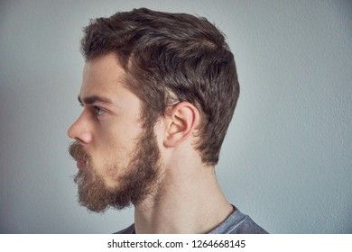 Portrait of young bearded man from profile