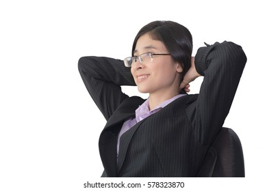 Portrait of young beautiful asian business woman in black suit