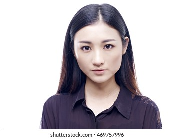 portrait of a young and beautiful asian girl, isolated on white background.