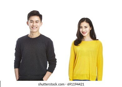 portrait of young and beautiful asian man and woman.