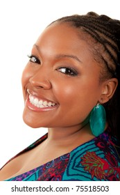 Portrait of a young beautiful black woman smiling