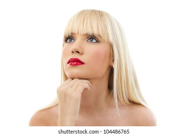 Portrait of young beautiful blonde woman with red lips isolated on white background