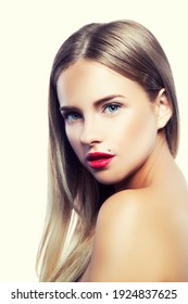 portrait of young beautiful blonde woman with long hair and bright fresh make-up, red lips, perfect skin