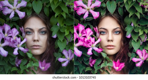 Portrait of young beautiful blue-eyed woman with purple clematis flowers around her face. Perfectly retouched -  before and after.
