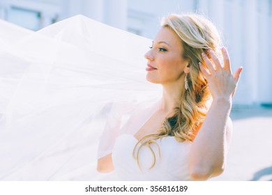 Portrait of the young beautiful bride with a veil