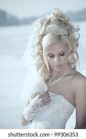 Portrait of the young beautiful bride.  Wedding portrait