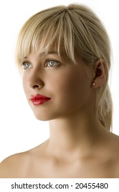 portrait of young beautiful girl with red lips and bright eyes