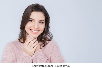 Portrait of young beautiful innocence caucasian woman over white background. Smile happy face asian girl wear winter cold cloth. Beauty treatment perfect clear skin makeup  lifestyle concept banner