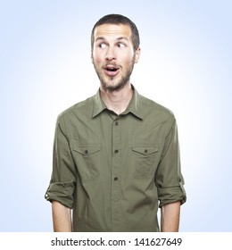 portrait of a young beautiful man surprised face expression