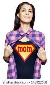 Portrait of young beautiful super mom