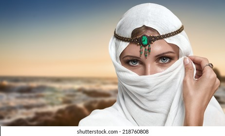 Portrait of young beautiful woman arabic style fashion look