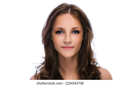 Portrait of young beautiful woman with dark hair, isolated on white background.