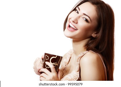 portrait of young beautiful woman holding cup of tea or coffee with hearts and happy smiling. isolated on white background.