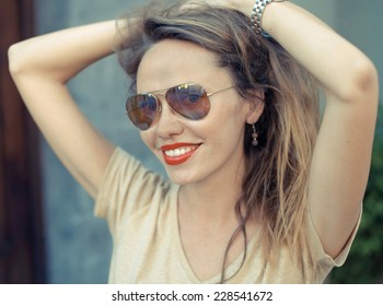 Portrait of Young Beautiful Woman with Red Lips.Retro Film style.