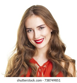 Portrait of a young beautiful woman in a red blouse isolated on white background