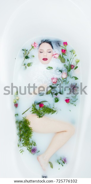 Portrait Young Beautiful Woman Rose Flowers Stock Photo