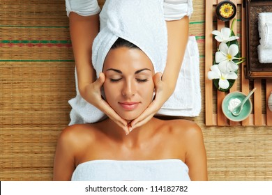 portrait of young beautiful woman in spa environment - Shutterstock ID 114182782