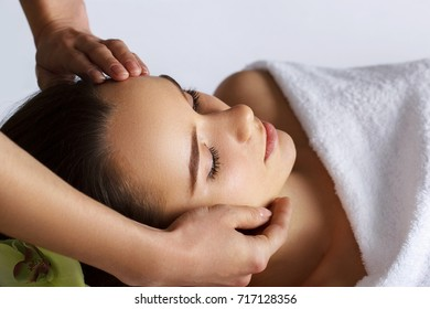 Portrait of Young Beautiful Woman in Spa Salon.Spa Body Massage Treatment and Skincare.Leisure.