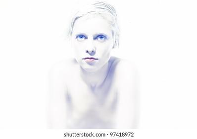 Portrait of young beautiful woman. Winter woman