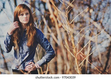 Portrait of young beautiful women outdoors