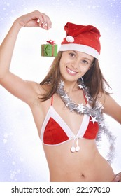 Portrait of  young beautiful x-mas girl on white back