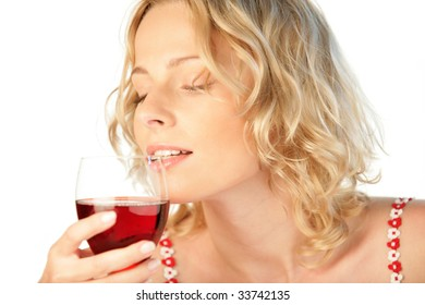 Portrait of young beauty woman with glass of red wine isolated on white background