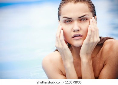 Portrait of young beauty woman relaxing in water