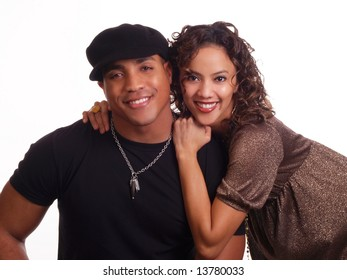 Portrait of young black man and hispanic woman couple