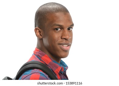 Portrait of young black student isolated on a white background