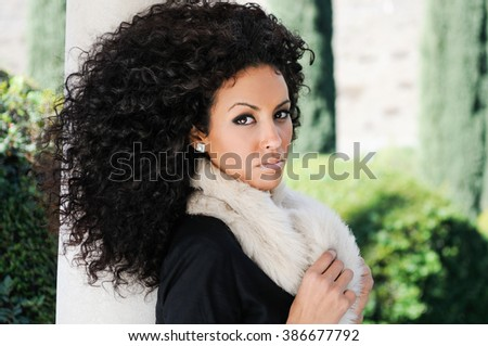 Portrait Young Black Woman Afro Hairstyle Stock Photo Edit Now