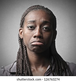 portrait of young black woman sad