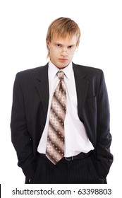 portrait of young blond man in black suit and glasses on white