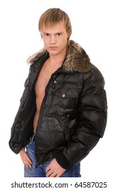 portrait of young blond man in leather jacket on bare torso with furry collar on white
