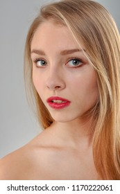 Portrait of Young Blonde Caucasian Girl