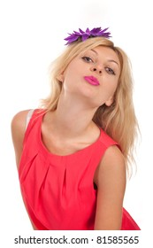 Portrait of young blonde woman kissing isolated in white