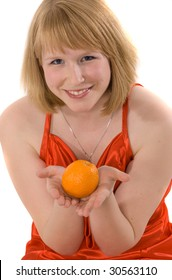 portrait of young blonde woman with an orange