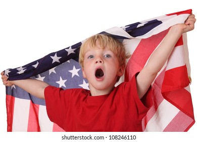 Portrait of a young boy with an american flag on white background