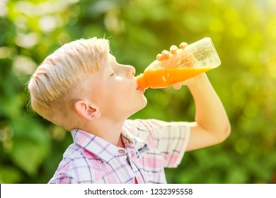 Portrait of a young boy drinking a bottle of juice