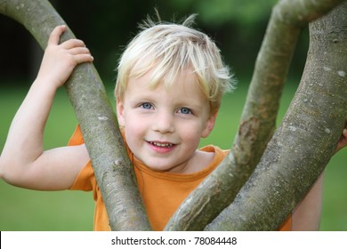 Portrait of a young boy in the garden