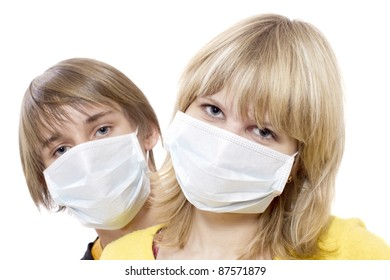 Portrait of young boy and girl in respirator bandage on