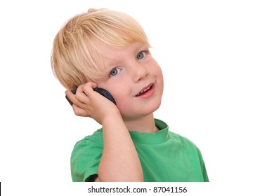 Portrait of a young boy with his new cell phone