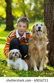Portrait of young boy posing with his two dogs
