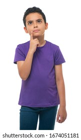 Portrait of Young Boy Thinking Isolated on White Background