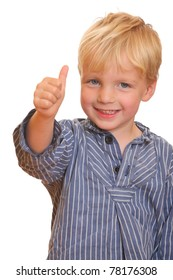 Portrait of a young boy with thumbs up