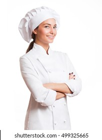 Portrait of a young brunette chef woman isolated on white background.